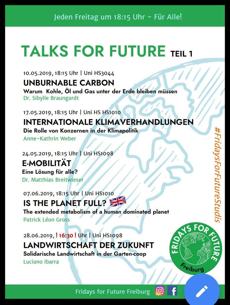Talks for Future #4 E-Mobilität @ Universität Freiburg, KGI Hörsaal 1098